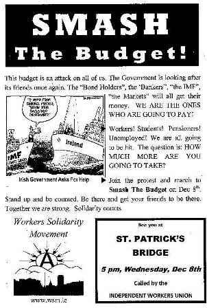Smash The Budget  Leaflet from WSM Cork