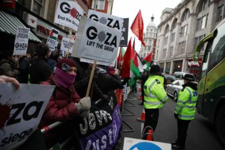 Protesters in London take to the streets near Israel's embassy on the second anniversary of the start of Israel's assault on Gaza, 27 December. (Matthew Cassel)