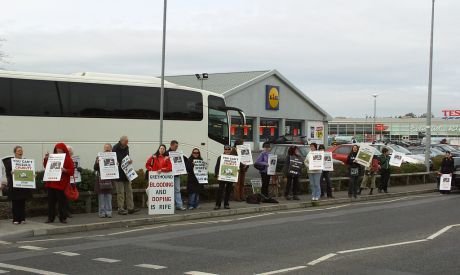 A protest outside a hare coursing event in County Offaly