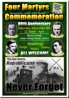 90th Anniversary Commemoration to be held in Dublin on Saturday 8th December 2012.