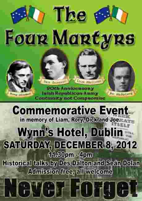 Four Martyrs commemorative event , Sat 8th Dec 2012, Wynn's Hotel, Dublin.