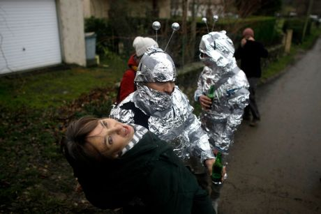 merry pranksters make light with exhausted locals in Bugarch, France for failed Mayan 2012 alien rescue thing