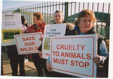 Protesters call for a ban on hare coursing