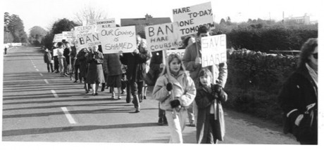 Anti hare coursing picket in mid 1980s