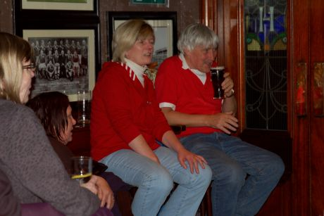 The family relaxes at the Brian Boru Sunday night at a social event before returning to Wales Sunday