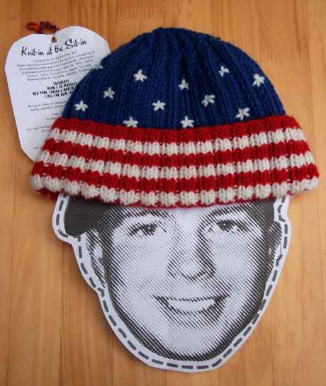 The stars and stripes hat sent by Occupy knitters in California