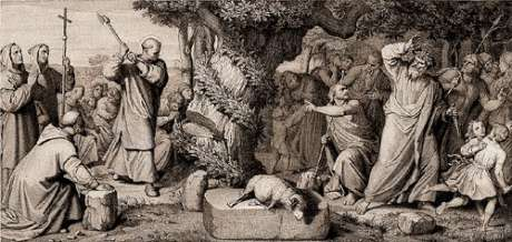 St Boniface chopping the oak tree