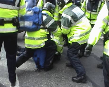 Injured Garda being seen to by medics