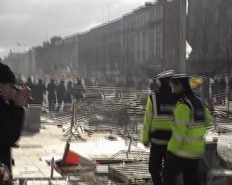 Barricades in O'Connell Street