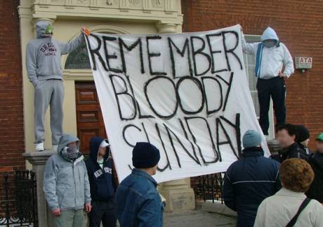 Counter-protestors unfurl Bloody Sunday Banner on Parnell Square East as March is Due to Begin