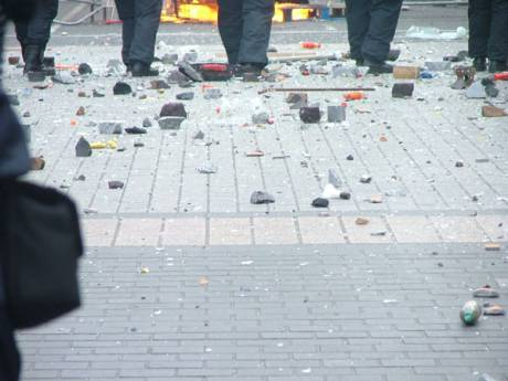 Debris Litters The Ground as Projectiles Continue To Rain Down on Gardai