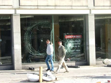 Smashed Windows of Vacant Site on Upper O Connell Street