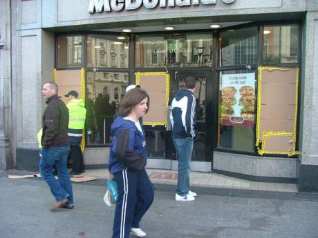 McDonalds Windows Smashed