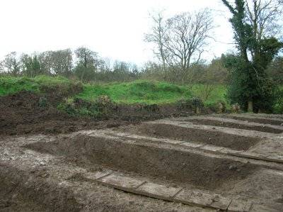 Trench cutting of the outer boundary at Baronstown