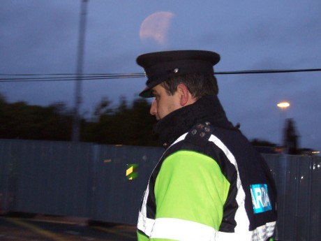 Garda Mick Clesham RG33 at Bellanaboy. A known bully, made a fool of now by Supt. Joe Gannon.