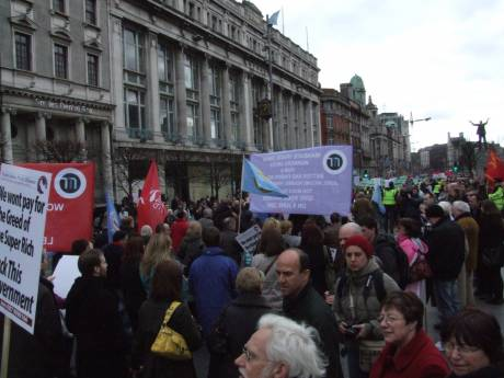 O'Connell St. - looking toward the front of the march