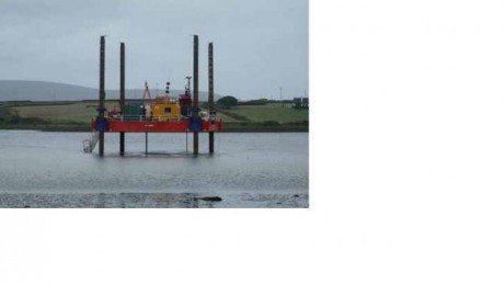 Pontoons used for drilling boreholes
