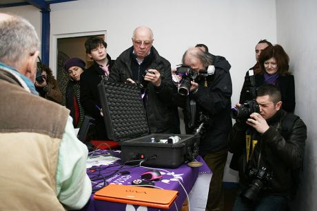 Dr Nitschke demonstrates the assisted suicide device. Pic: William Hederman
