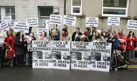 'Pro-life' protesters outside Seomra Spraoi yesterday during the assisted suicide workshop. Pic: William Hederman