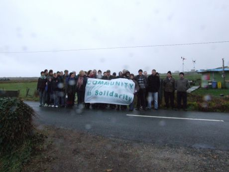 Locals show their solidarity with many from the Rossport Solidarity Camp who are in court
