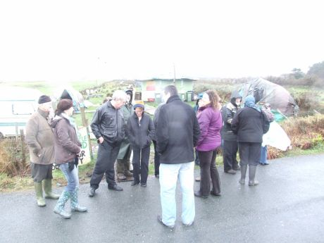 Gathering in the road outside the Rossport Solidarity Camp