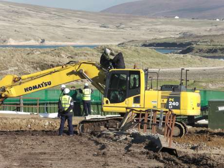 People occupying diggers in Glengad compound.