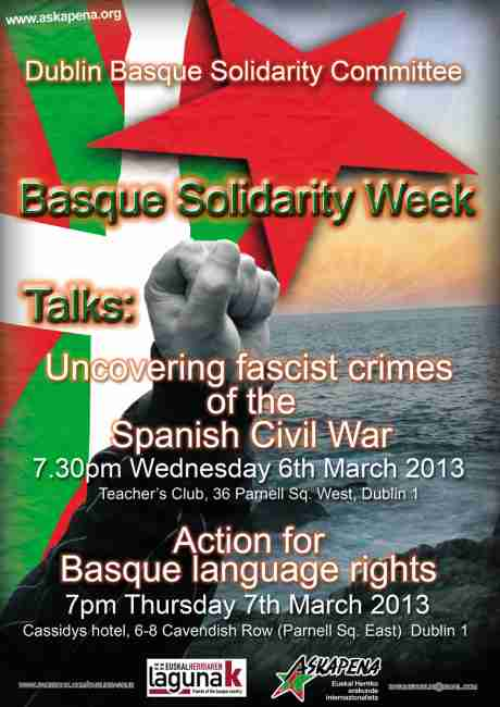 International Solidarity with the Basque Country Week in Dublin poster