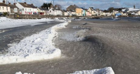 Frozen sea in Blackrock Village in Dundalk Bay, co Louth. Photograph: Niall Caroll