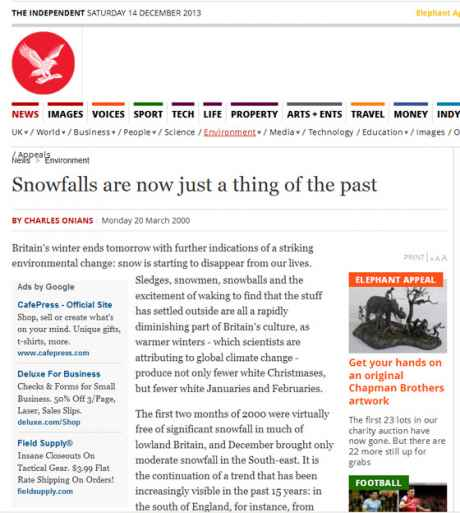 "Snow -  A thing of the past? <br>According to Climate ""Scientisrts"" back in 2000"