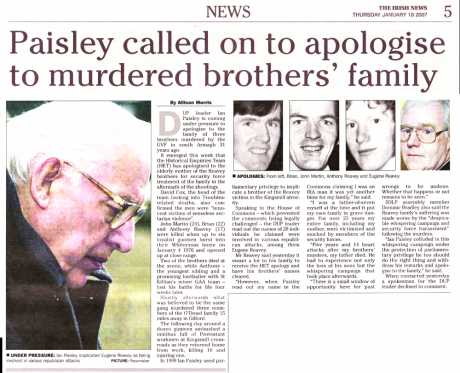 Ian Paisley asked to apologise for siding with RUC killers against one of their victims