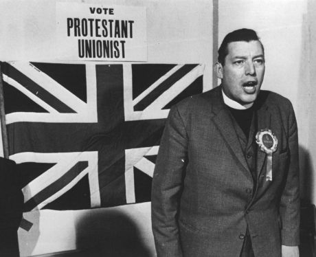 Ian Paisley with his religion and politics nailed to the Union Jack