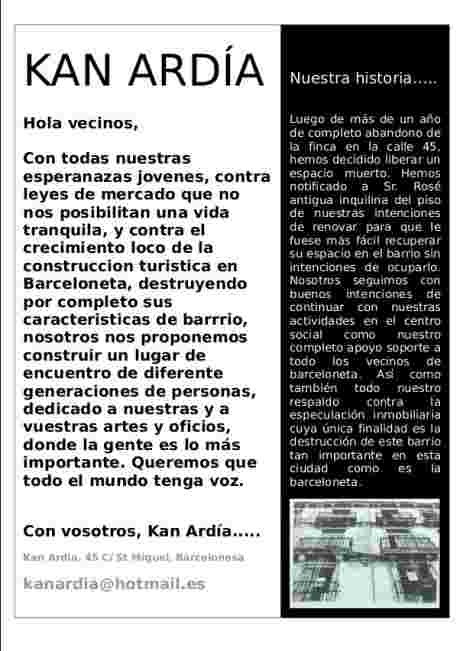 Kan Ardia : communication flyer to the barri