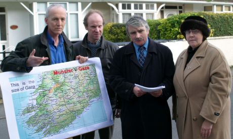 Minister of Defence  Willie O'Dea T.D.  was presented with over 100 letters urging government action to hold Israel to account for its crimes against the Palestinian people. Left to right: Sean Clinton, Michael Geraghty, Minister Willie O'Dea T.D. and Bri