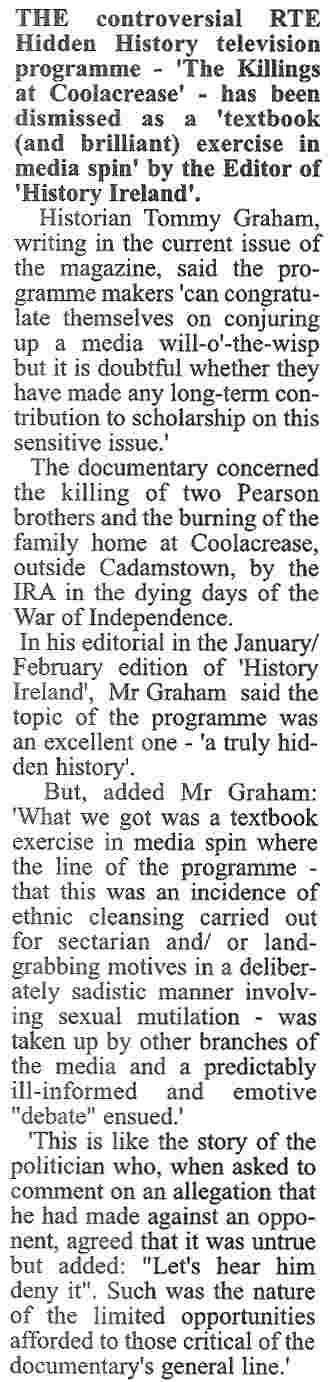 RTE Coolacrease programme - an exercise in media spin - Tullamore Trib 16 Jan 08