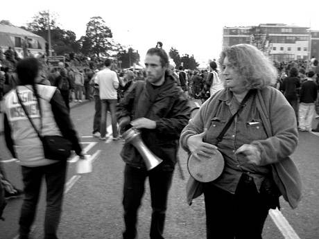 Dublin: Starhawk (right) on the May Day '04 march to Farmleigh