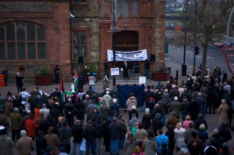 The rally in Derry against Israel's attacks on Gaza being addressed by Goretti Horgan (SWP).  She re-iterated calls for a Boycott of Israeli goods and called for the expulsion of the Israeli ambassador to Ireland.