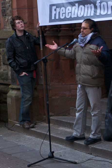 Suliman from Gaza  addressed the rally in Derry against Israel's attacks on Gaza and thanked people for attending.