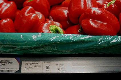 Blood red peppers from apartheid Israel in Tesco