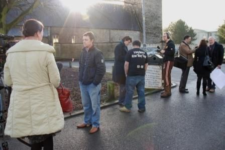The media desend on the protestors at the National Seminary of Ireland in Maynooth.