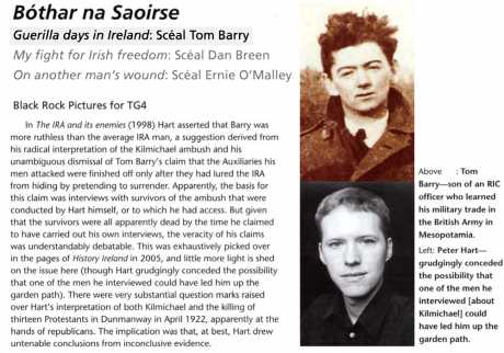 What History Ireland said about programme on Tom Barry