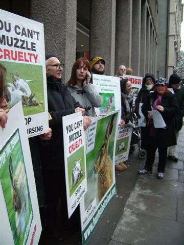 Prosters against live hare coursing outside Dept of Agriculture. January 30th 2012.