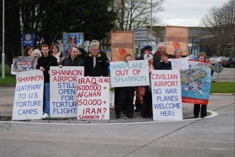 Peace activists at Shannon 8 Jan 2012