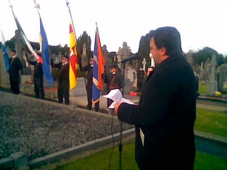 Fergal Moore delivering the main oration in Glasnevin Cemetery , Dublin , 1st January 2013.