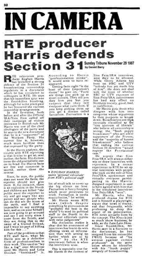 The late Gerald Barry of RTE wrote this Sunday Tribune column on 29 November 1987 that exposed Harris RTE witch-hunt - click to read