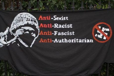 Hooligan antifa banner