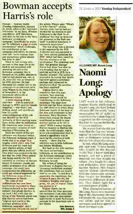 Naomi Long MP Sunday Independent apology and letter from John Bowman - click to read