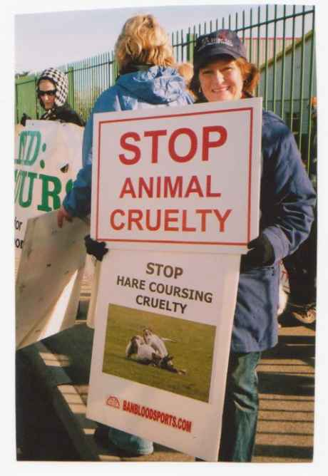 Protester against hare coursing