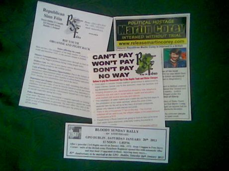 A pic of the type of leaflets that RSF has collated into 'info packs' for Saturday 26th January 2013 in Dublin.