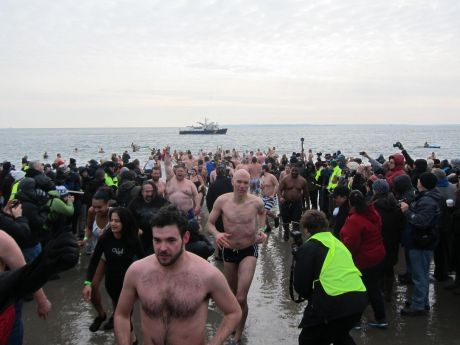 The Cabhair swimmers placed themselves in the middle of the crowd, seeking shelter.....
