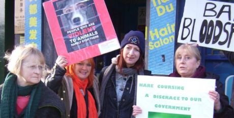 Demo against sponsorship of hare coursing on January 30th, 2015